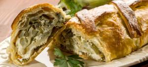 strudel with artichoke and ricotta, vegetarian food