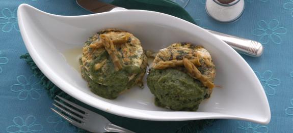 Tortino alle ortiche con asparagi verdi