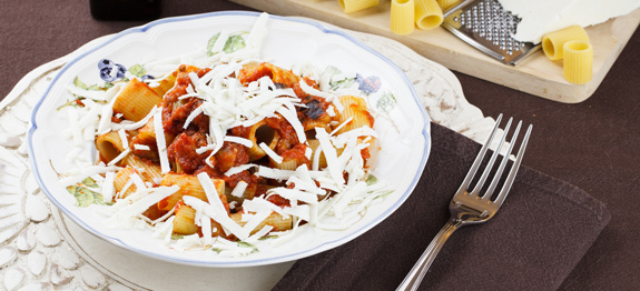 Pasta Norma with eggplant tomato and ricotta cheese