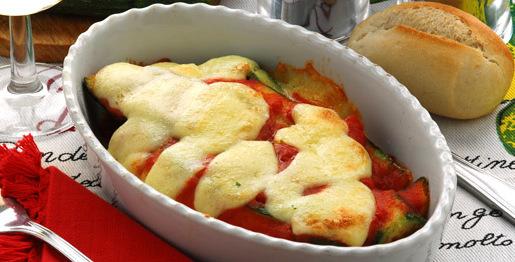 Zucchine gratinate e mozzarella