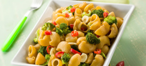 pasta with broccoli garlic and hot chili pepper,selective focus